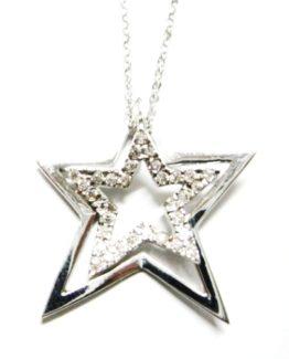 Ciondolo stella con zirconi in oro bianco 18kt