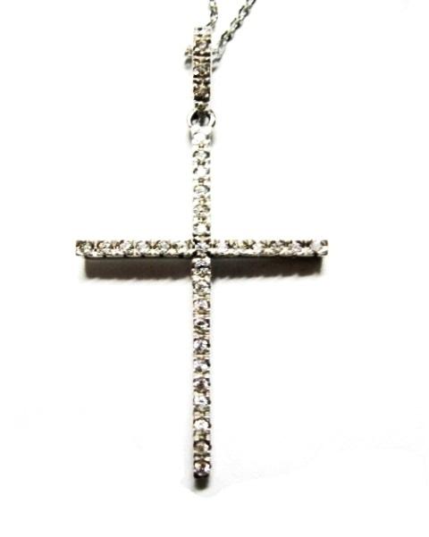 Croce in oro bianco 18 kt con zirconi