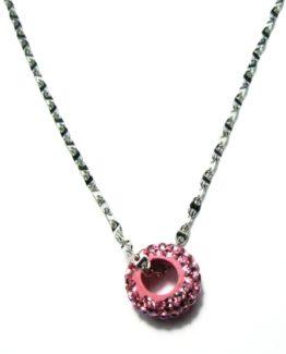 Collana con ciondolo rosa swaroski in argento