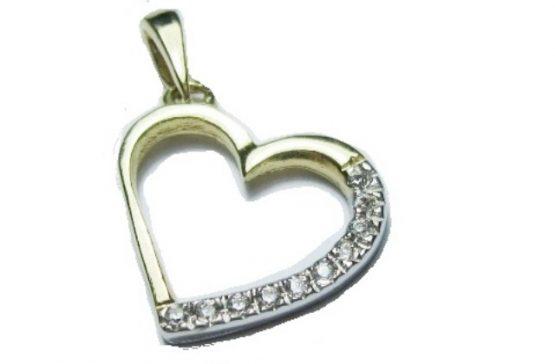 Ciondolo pendente cuore oro 18 carati giallo, oro bianco e zirconi