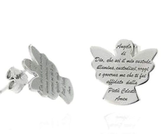 Orecchini a forma di angelo con preghiera in argento