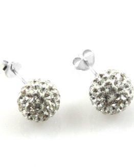orecchini pallina sfera di swarovski in argento