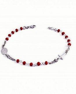 Bracciale in argento rosario con palline rosse