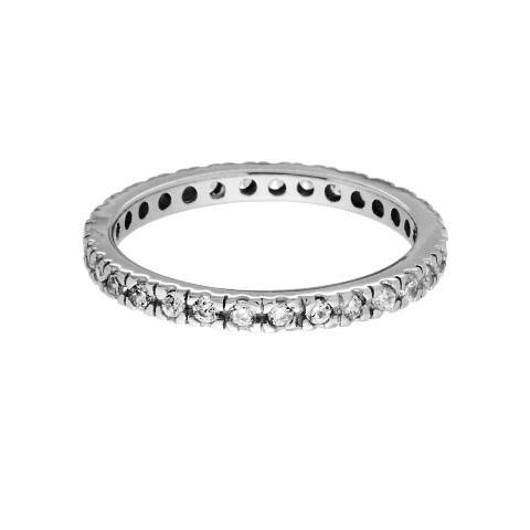Anello eternity in argento 925 e zirconi