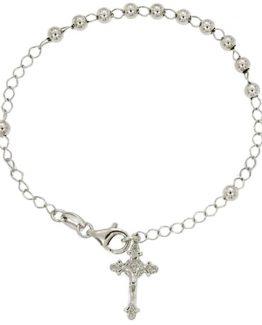 Bracciale rosario con croce in argento cm 19