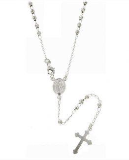 Collana rosario classico in argento 925 con grani da mm 1