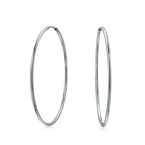 Orecchini cerchi lisci in argento 925