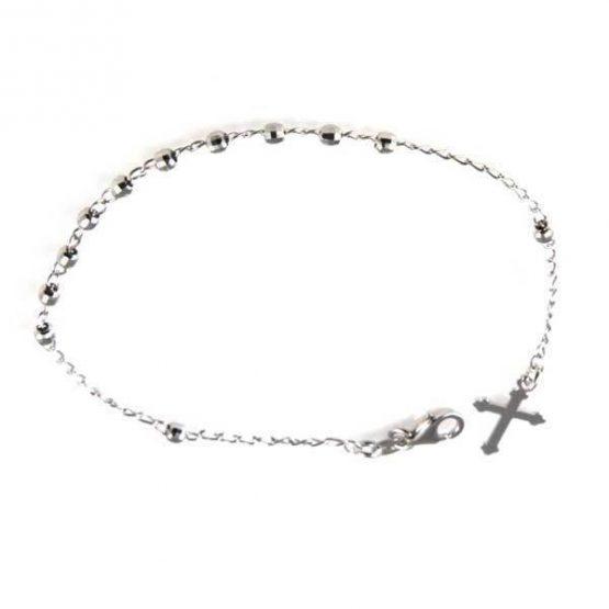 Braccialetto in argento rosario con croce finale