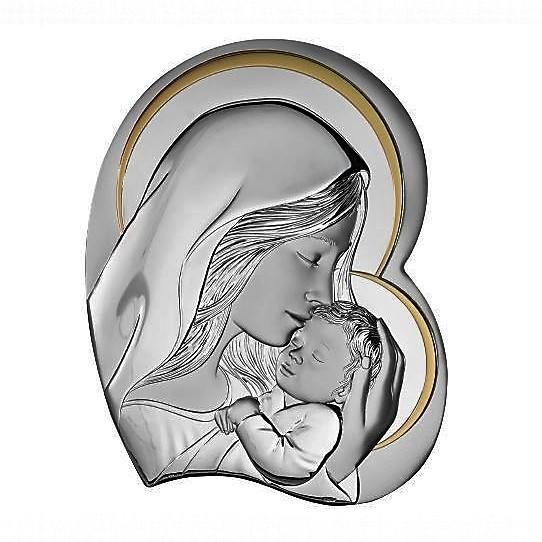 Icona sacra in argento Madonna con bambino Atelier Argenti