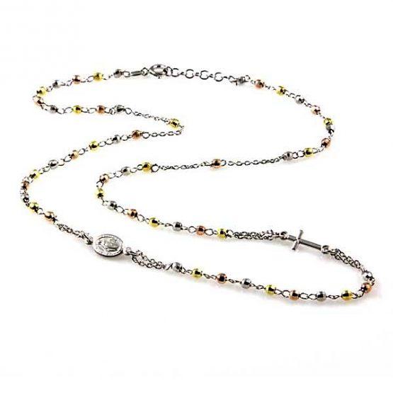 Collana rosario in argento con grani colorati