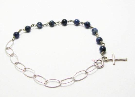 Bracciale rosario in argento con sfere blu e croce