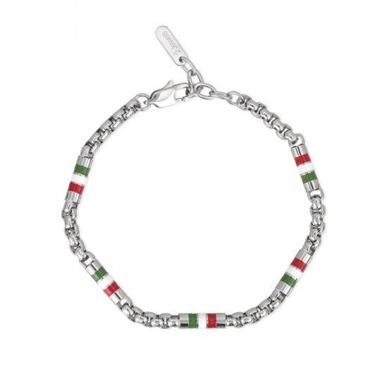 Bracciale 2jewels in acciaio da uomo smaltato verde bianco e rosso cm 21