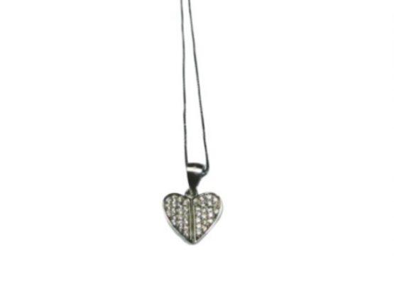 Ciondolo a forma di cuore in argento e zirconi