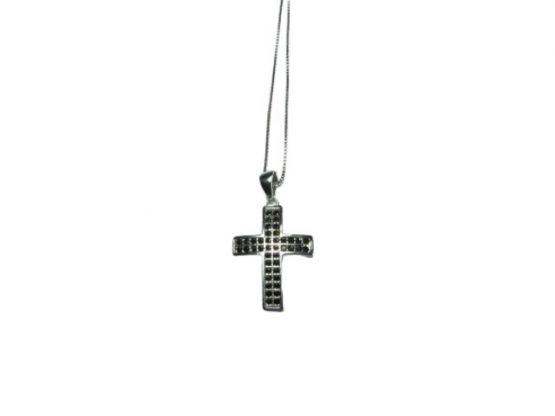 Croce in argento con zirconi neri