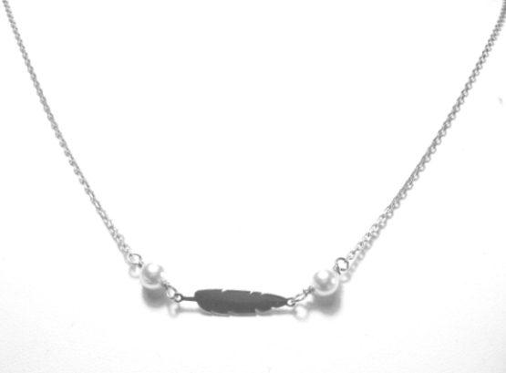 Collana girocollo argento 925 con foglia e perle