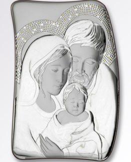 Icona Sacra Famiglia Atelier Argenti in argento 925 e legno cm 7x10