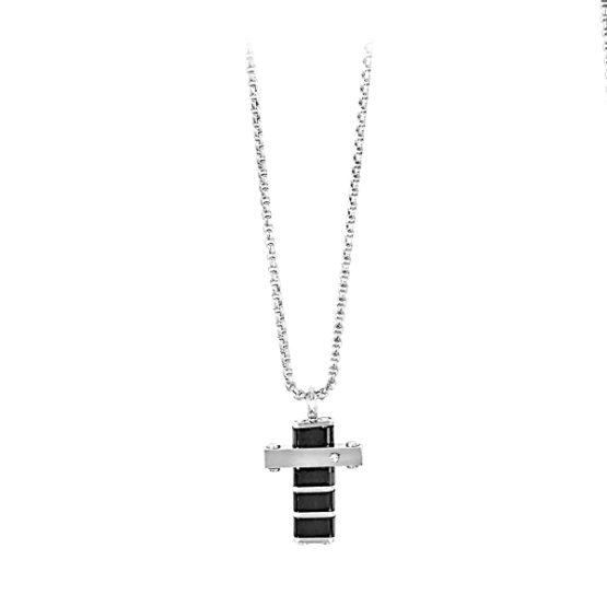 Collana 2jewels in acciaio con croce in ceramica e punto luce