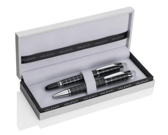 Coppia di penne biro e stilografica Valenti argenti linea ufficio