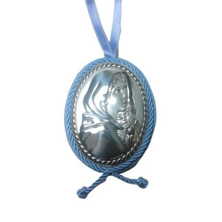 Capoculla carillon Madonna con bambino colore celeste per bimbo