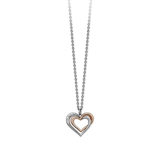 Girocollo 2Jewels in acciaio 316L con ciondolo cuore PVD rosato e cristalli 251596