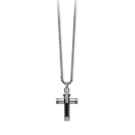 Girocollo in acciaio da cm 50 con croce in PVD nero e cristalli 251598