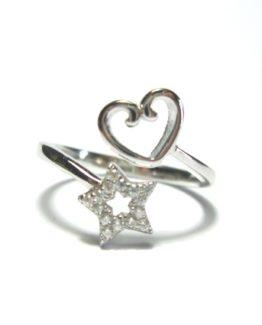 Anello da donna in argento 925 cuore e stella di zirconi