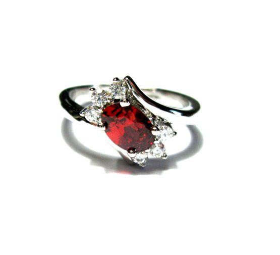 Anello da donna in argento 925 regolabile con pietre rubino e zirconi