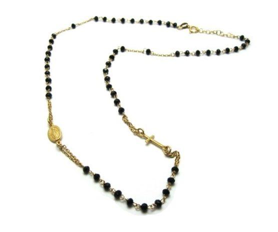 Rosario collana in argento colore oro con grani neri
