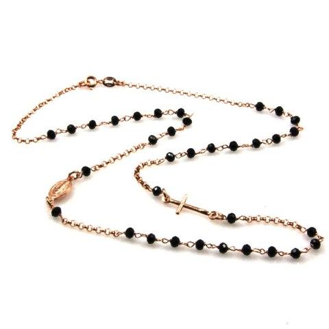 Rosario collana in argento rosa con grani neri