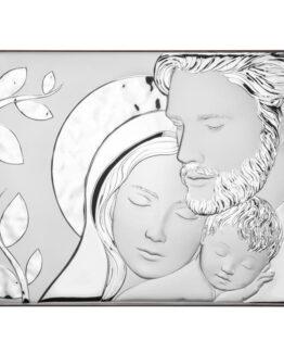 Quadro icona sacra famiglia con albero in argento 925 Atelier AE0281