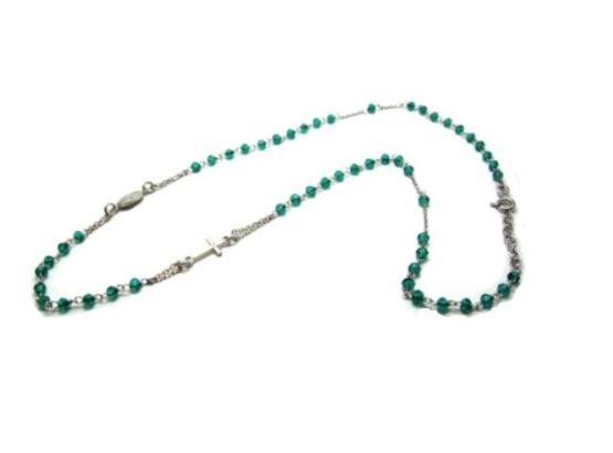collana rosario grani verdi cm 52