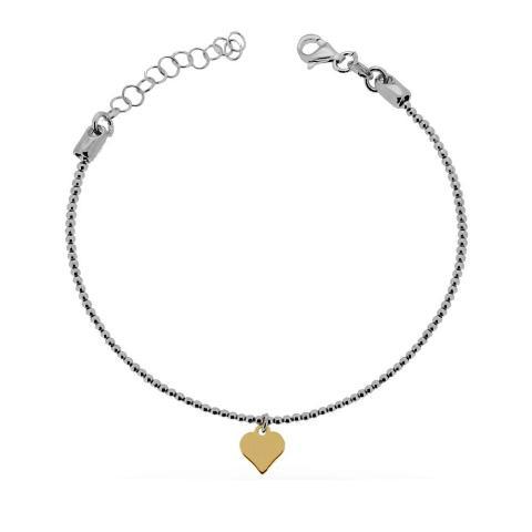 Bracciale da donna in argento con charm cuore dorato
