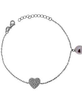 Bracciale in argento con cuore di zirconi e perla