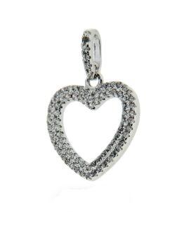 Ciondolo in argento 925 cuore con zirconi