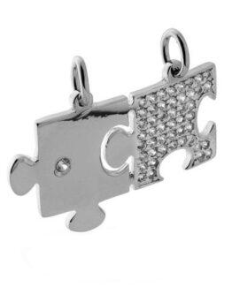 Ciondolo Puzzle da spezzare con zirconi bianchi in argento 925 rodiato