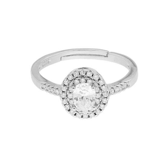 Anello solitario con zircone ovale bianco contornato con zirconi bianchi in argento 925