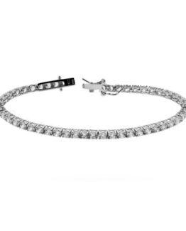 Bracciale Tennis in argento e zirconi bianchi da mm 3 lunghezza cm 21
