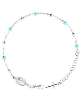 Bracciale bimbo rosario in argento e sfere azzurre