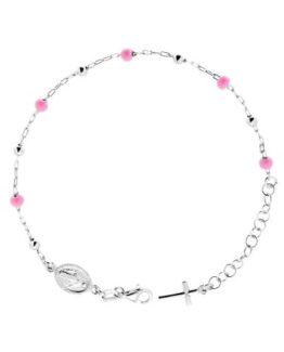 Bracciale rosario bimba in argento con sfere rosa