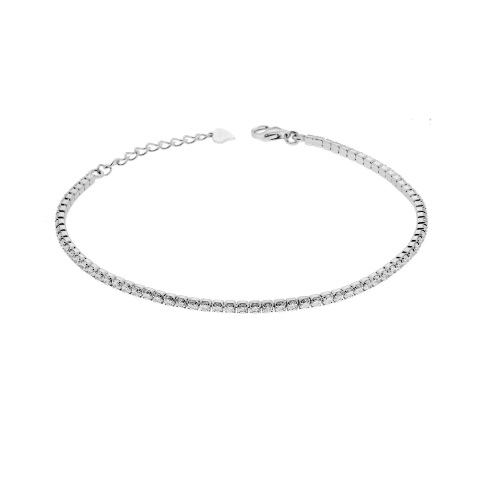 Bracciale tennis griffe cm 18 con zirconi mm 2 bianchi in argento 925