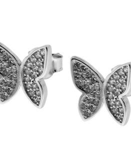 Orecchini farfalla con zirconi bianchi in argento 925
