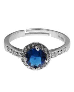 Anello Solitario con zircone tondo colore blu zaffiro e zirconi bianchi
