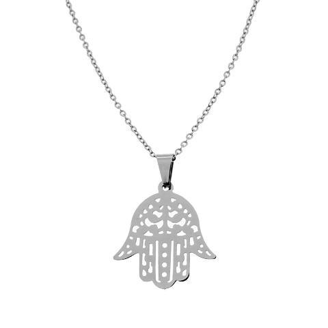 Collana con pendente Mano di Fatima in acciaio