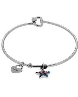Bracciale rigido portafortuna in acciaio con charms pendente Stella e pietre di zirconi colorate e cuore
