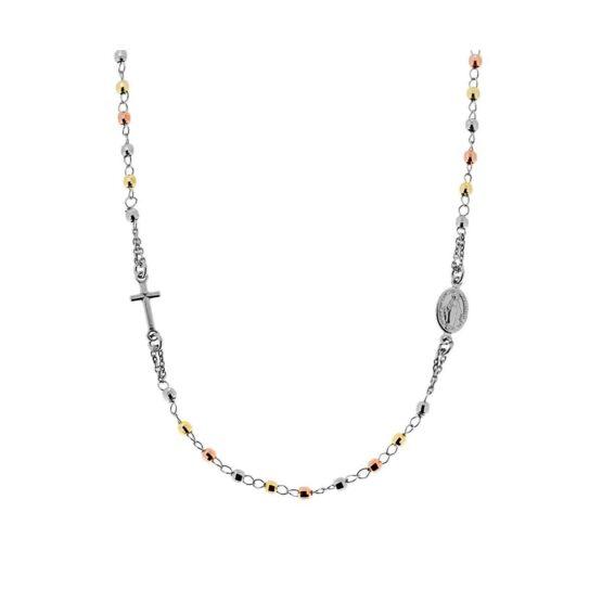 Rosario collana girocollo da cm 50 con grani a palline colorate diamantate